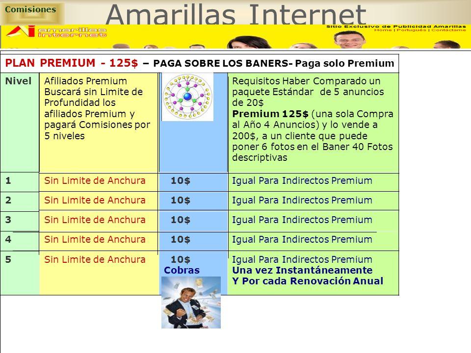 Comisiones Amarillas Internet. PLAN PREMIUM - 125$ – PAGA SOBRE LOS BANERS- Paga solo Premium. Nivel.