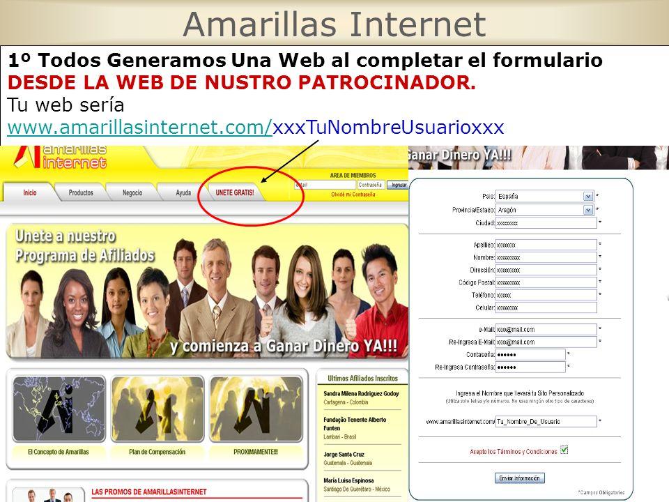 Amarillas Internet 1º Todos Generamos Una Web al completar el formulario. DESDE LA WEB DE NUSTRO PATROCINADOR.