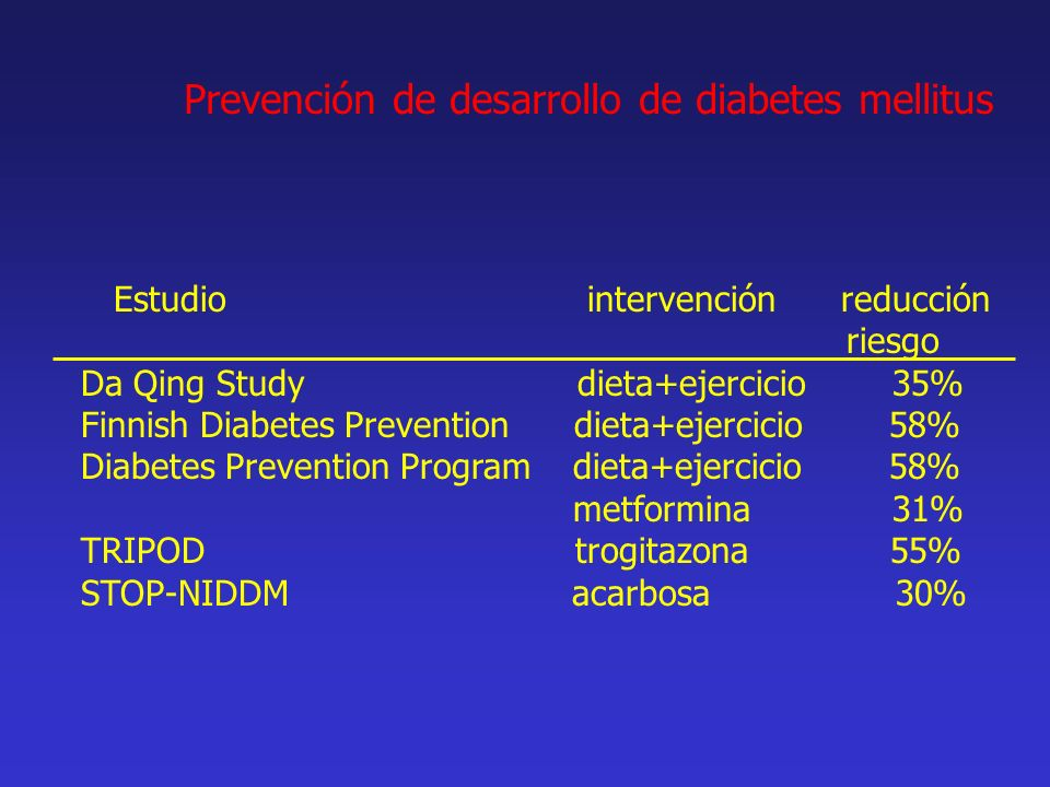 Prevención de desarrollo de diabetes mellitus