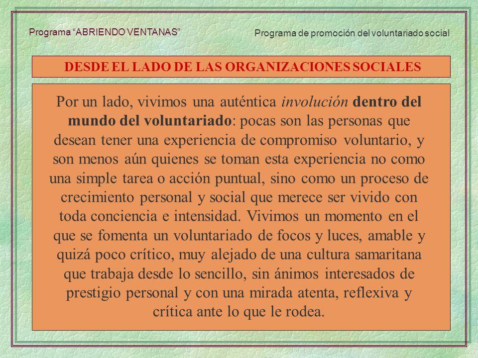 DESDE EL LADO DE LAS ORGANIZACIONES SOCIALES
