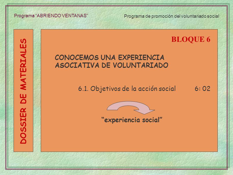 BLOQUE 6 DOSSIER DE MATERIALES CONOCEMOS UNA EXPERIENCIA