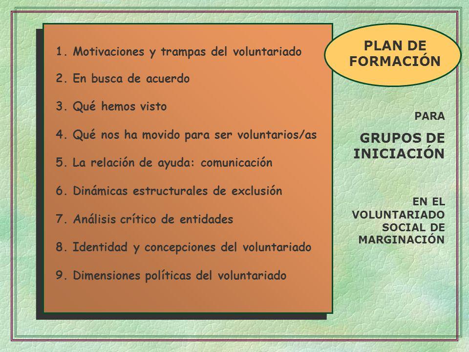 EN EL VOLUNTARIADO SOCIAL DE MARGINACIÓN