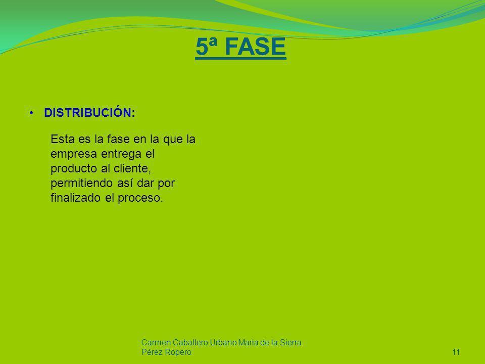 5ª FASE DISTRIBUCIÓN: Esta es la fase en la que la empresa entrega el producto al cliente, permitiendo así dar por finalizado el proceso.