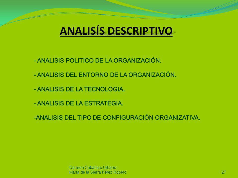 ANALISÍS DESCRIPTIVO ANALISIS POLITICO DE LA ORGANIZACIÓN.