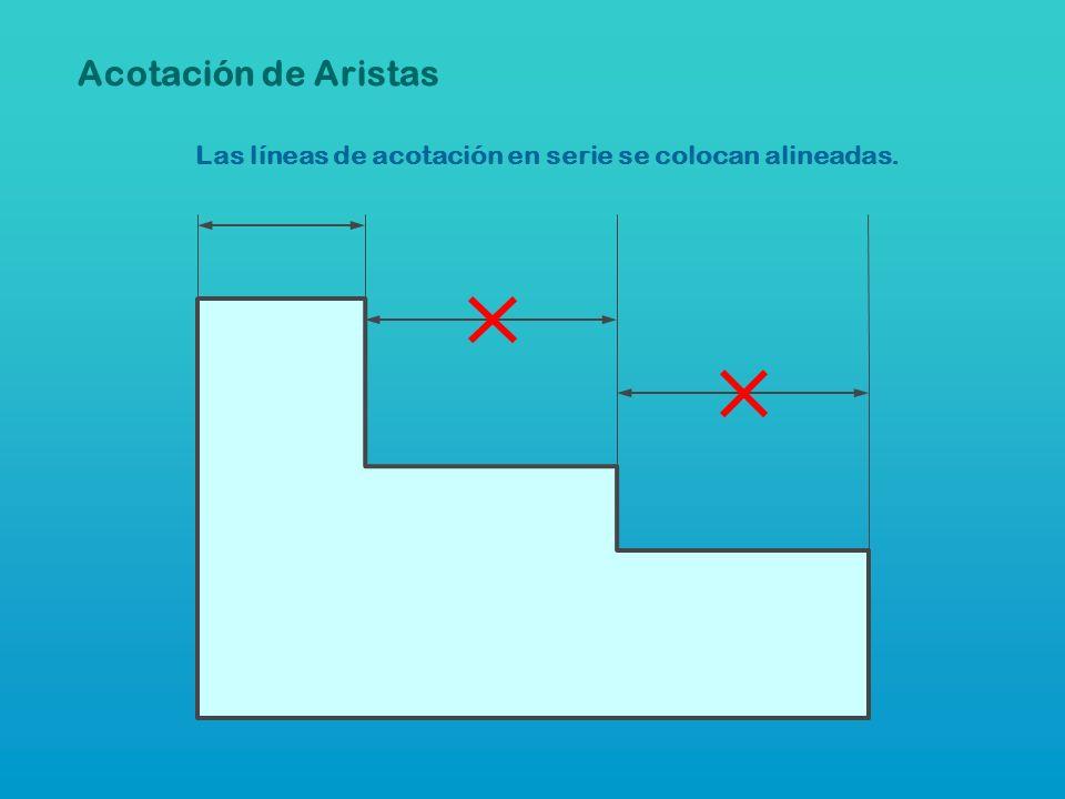Acotación de Aristas Las líneas de acotación en serie se colocan alineadas.