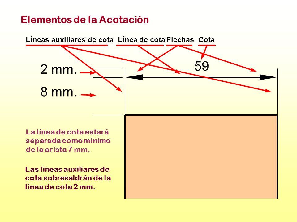 59 2 mm. 8 mm. Elementos de la Acotación Líneas auxiliares de cota