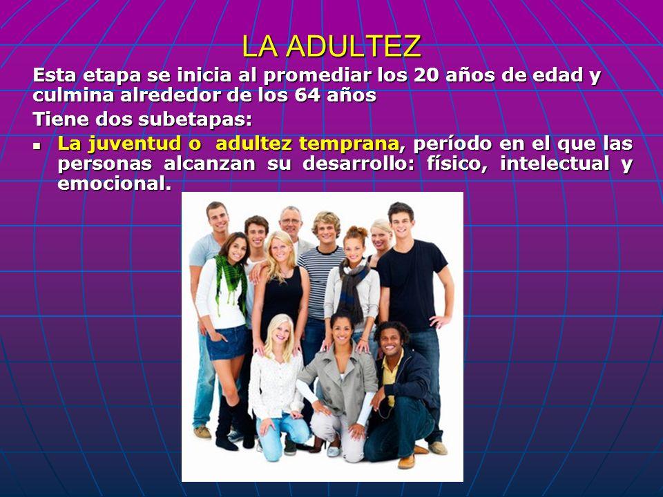 LA ADULTEZ Esta etapa se inicia al promediar los 20 años de edad y culmina alrededor de los 64 años.