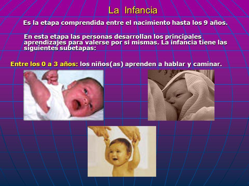Es la etapa comprendida entre el nacimiento hasta los 9 años.