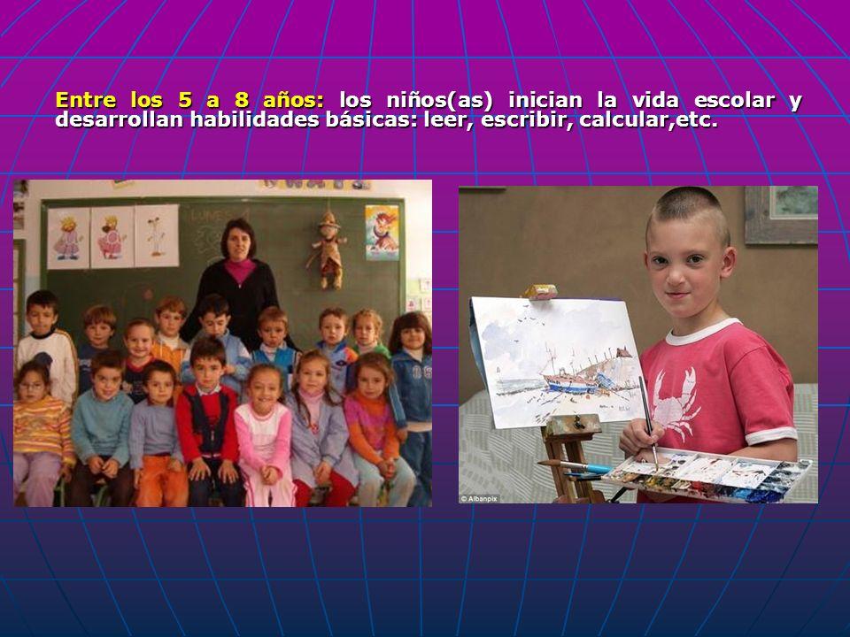 Entre los 5 a 8 años: los niños(as) inician la vida escolar y desarrollan habilidades básicas: leer, escribir, calcular,etc.