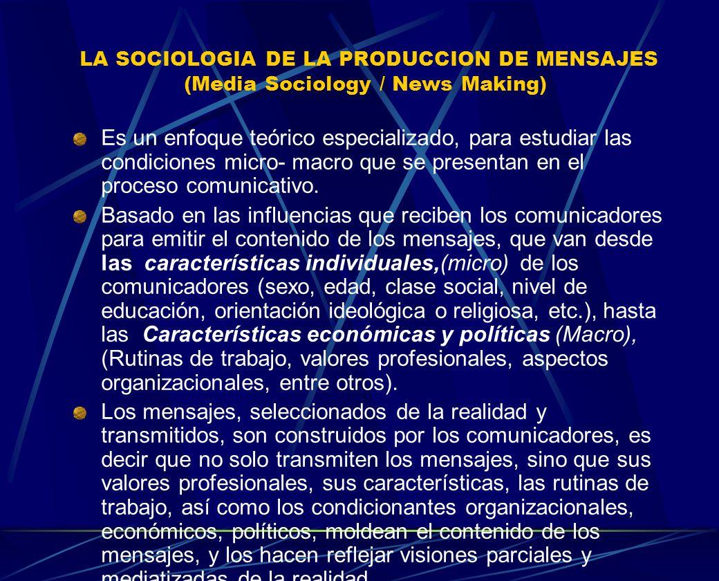 LA SOCIOLOGIA DE LA PRODUCCION DE MENSAJES (Media Sociology / News Making)