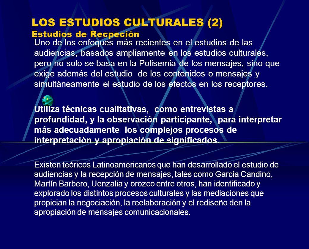 LOS ESTUDIOS CULTURALES (2) Estudios de Recpeción