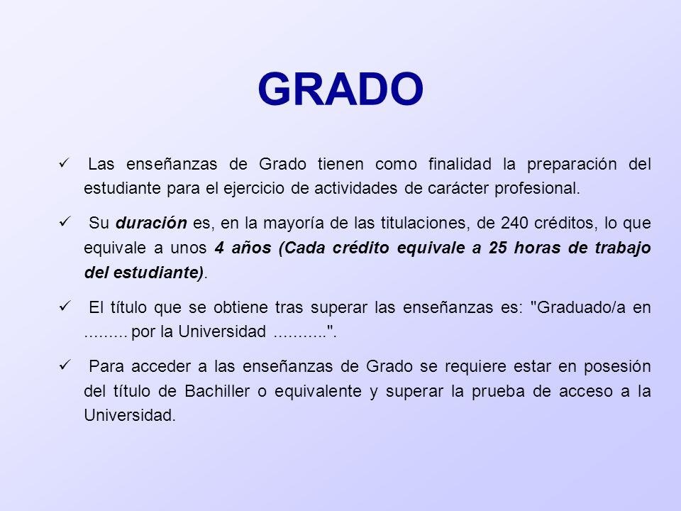 GRADOLas enseñanzas de Grado tienen como finalidad la preparación del estudiante para el ejercicio de actividades de carácter profesional.