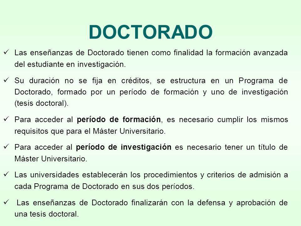 DOCTORADOLas enseñanzas de Doctorado tienen como finalidad la formación avanzada del estudiante en investigación.