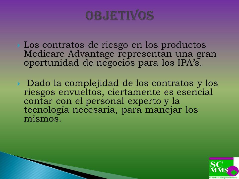 Objetivos Los contratos de riesgo en los productos Medicare Advantage representan una gran oportunidad de negocios para los IPA's.