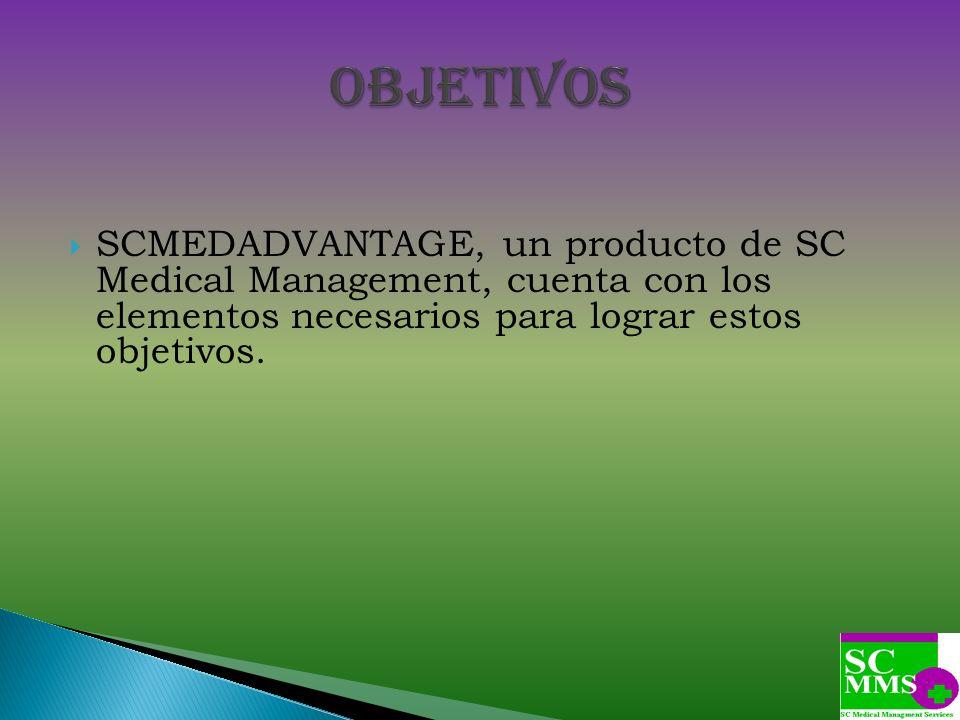 Objetivos SCMEDADVANTAGE, un producto de SC Medical Management, cuenta con los elementos necesarios para lograr estos objetivos.
