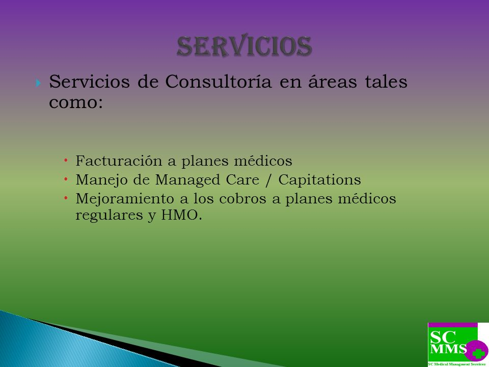 SERVICIOS Servicios de Consultoría en áreas tales como: