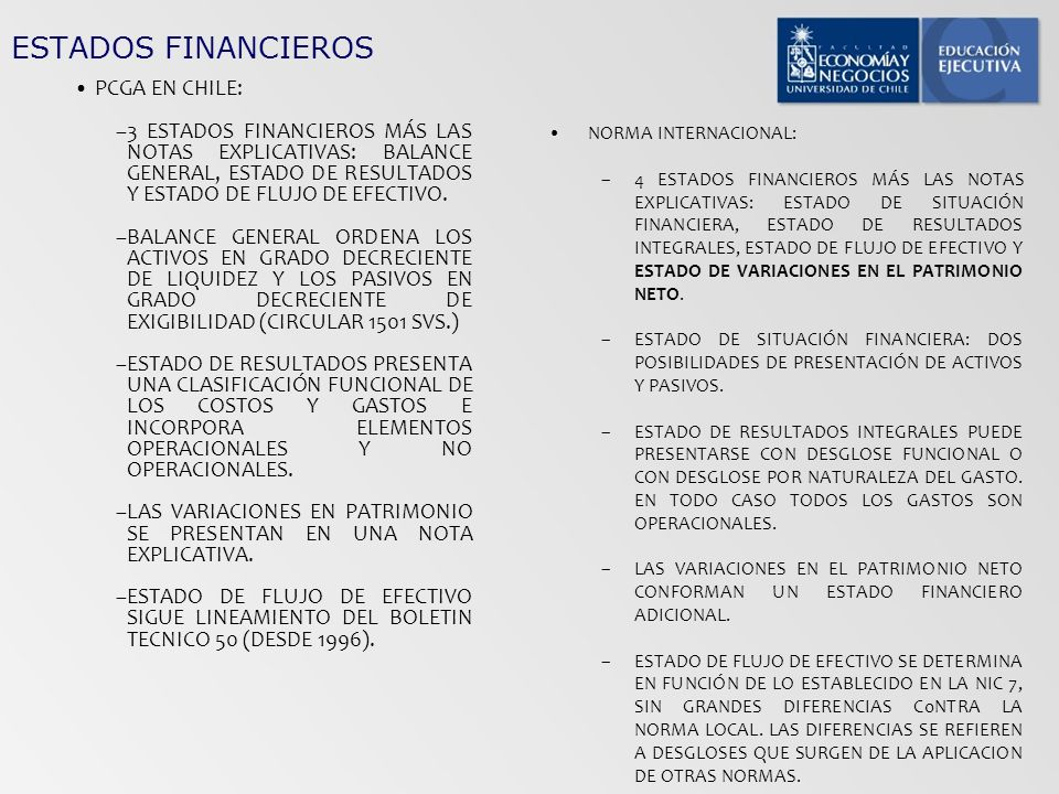 ESTADOS FINANCIEROS PCGA EN CHILE: