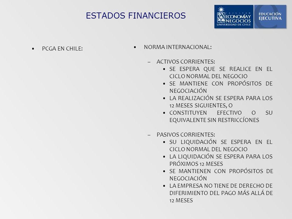 ESTADOS FINANCIEROS NORMA INTERNACIONAL: PCGA EN CHILE: