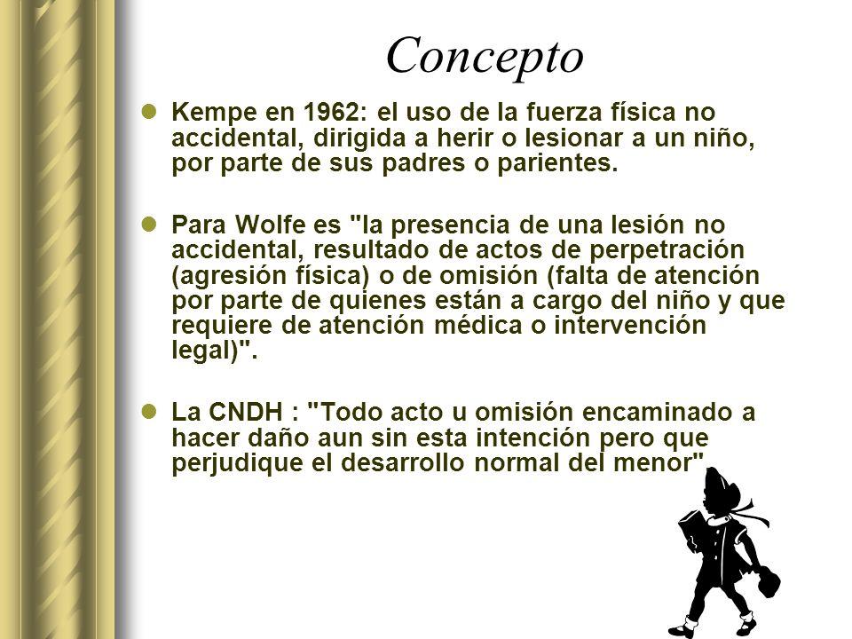 Concepto Kempe en 1962: el uso de la fuerza física no accidental, dirigida a herir o lesionar a un niño, por parte de sus padres o parientes.
