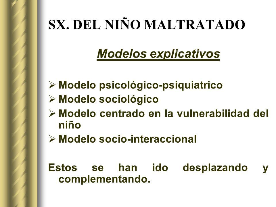 SX. DEL NIÑO MALTRATADO Modelos explicativos