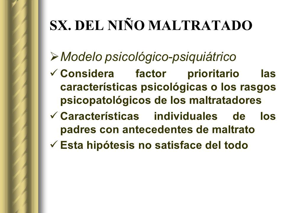 SX. DEL NIÑO MALTRATADO Modelo psicológico-psiquiátrico
