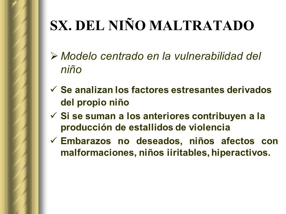 SX. DEL NIÑO MALTRATADO Modelo centrado en la vulnerabilidad del niño