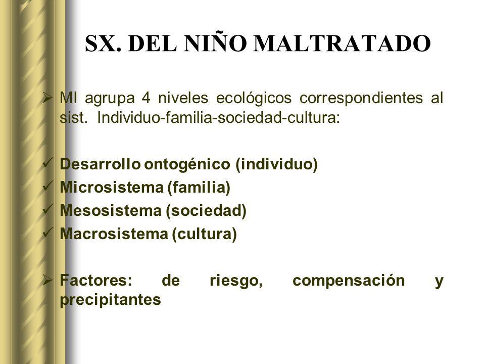 SX. DEL NIÑO MALTRATADO MI agrupa 4 niveles ecológicos correspondientes al sist. Individuo-familia-sociedad-cultura: