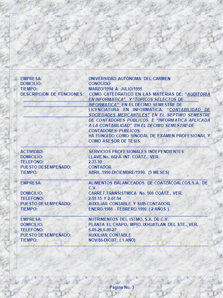 EMPRESA: UNIVERSIDAD AUTONOMA DEL CARMEN