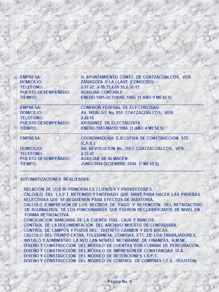 EMPRESA: H. AYUNTAMIENTO CONST. DE COATZACOALCOS, VER.