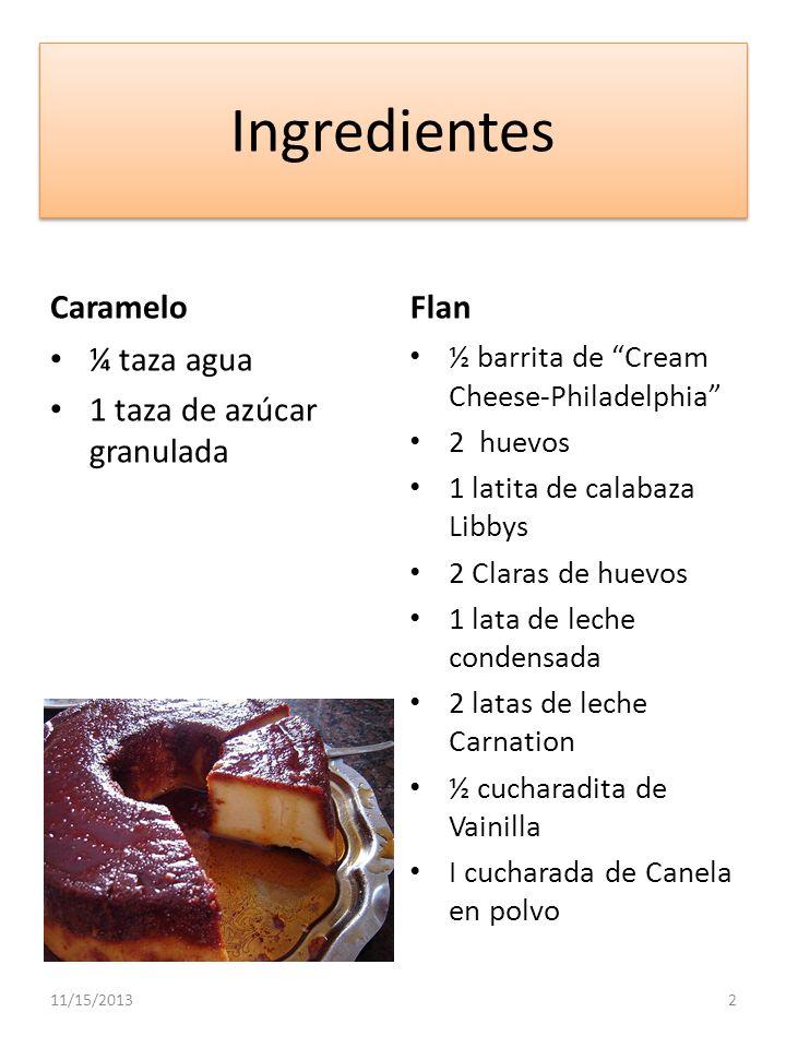 Ingredientes Caramelo Flan ¼ taza agua 1 taza de azúcar granulada