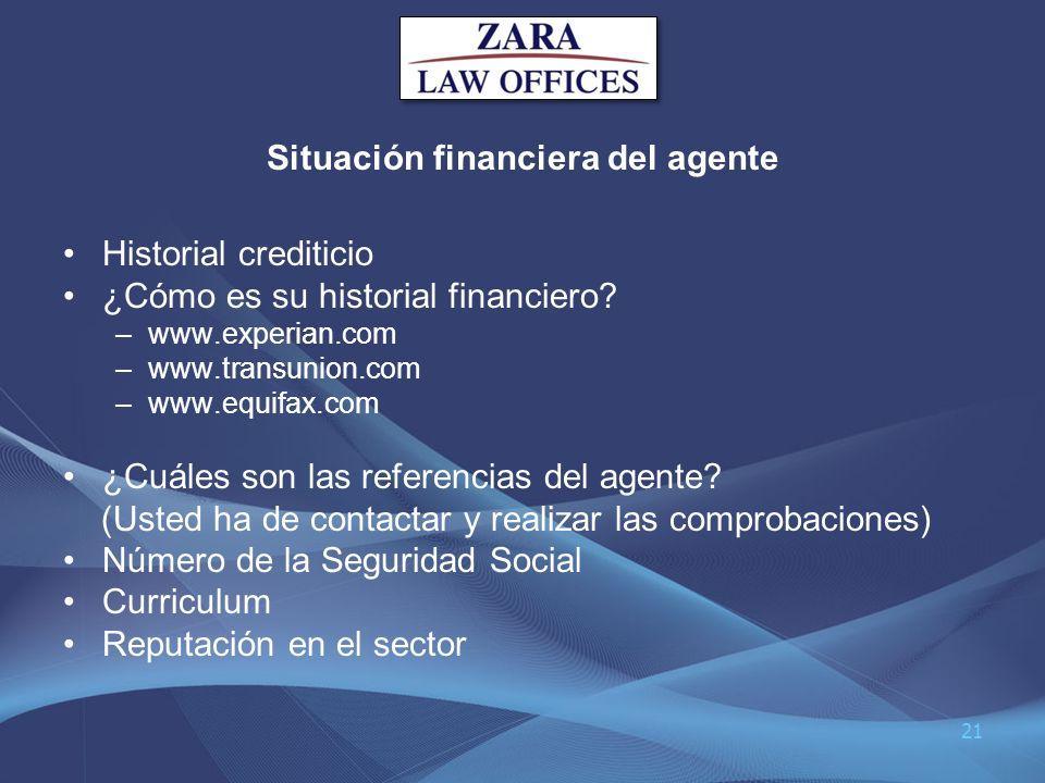 Situación financiera del agente