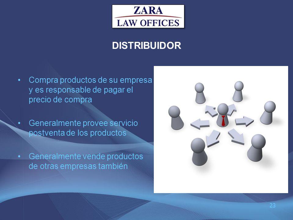 DISTRIBUIDOR Compra productos de su empresa y es responsable de pagar el precio de compra. Generalmente provee servicio postventa de los productos.