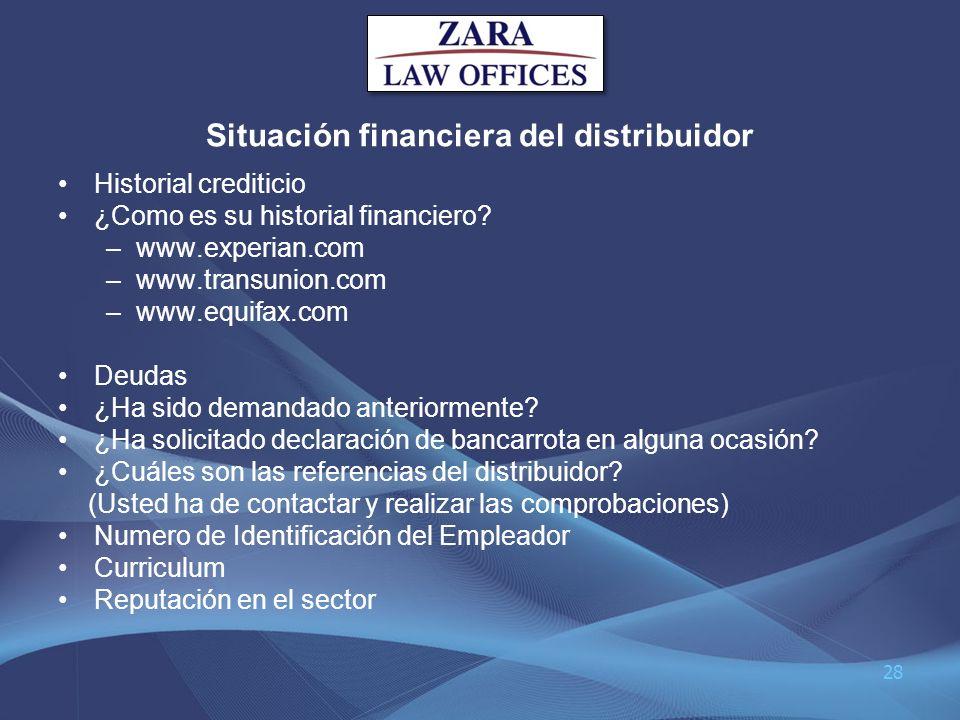 Situación financiera del distribuidor