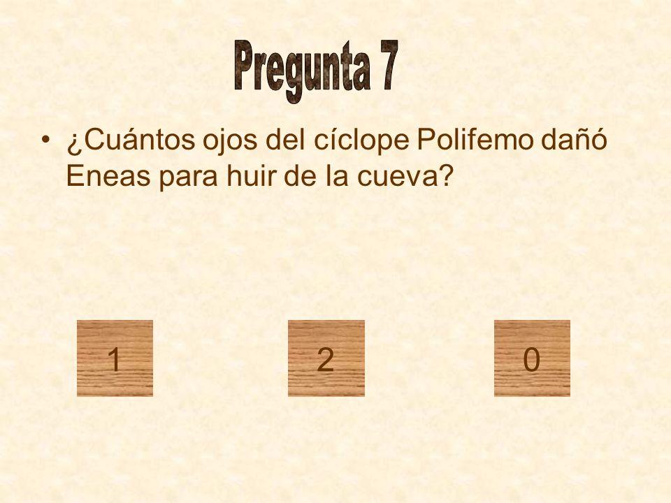 Pregunta 7 ¿Cuántos ojos del cíclope Polifemo dañó Eneas para huir de la cueva 1 2
