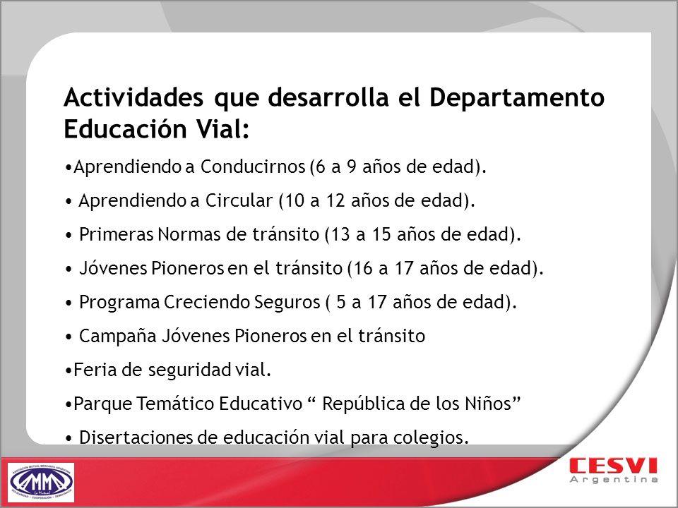 Actividades que desarrolla el Departamento Educación Vial: