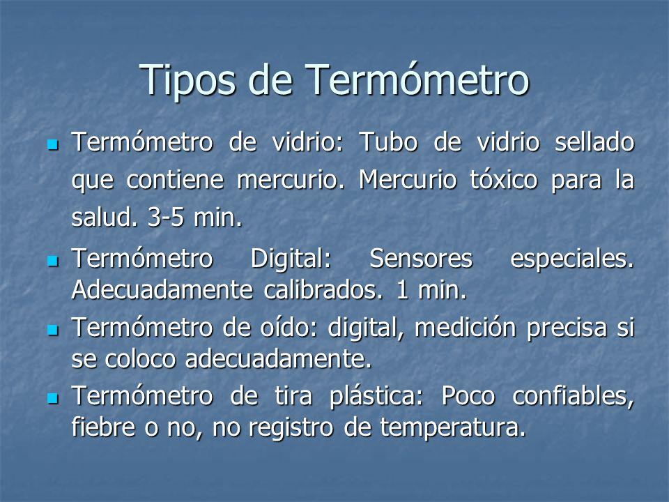Tipos de Termómetro Termómetro de vidrio: Tubo de vidrio sellado que contiene mercurio. Mercurio tóxico para la salud. 3-5 min.
