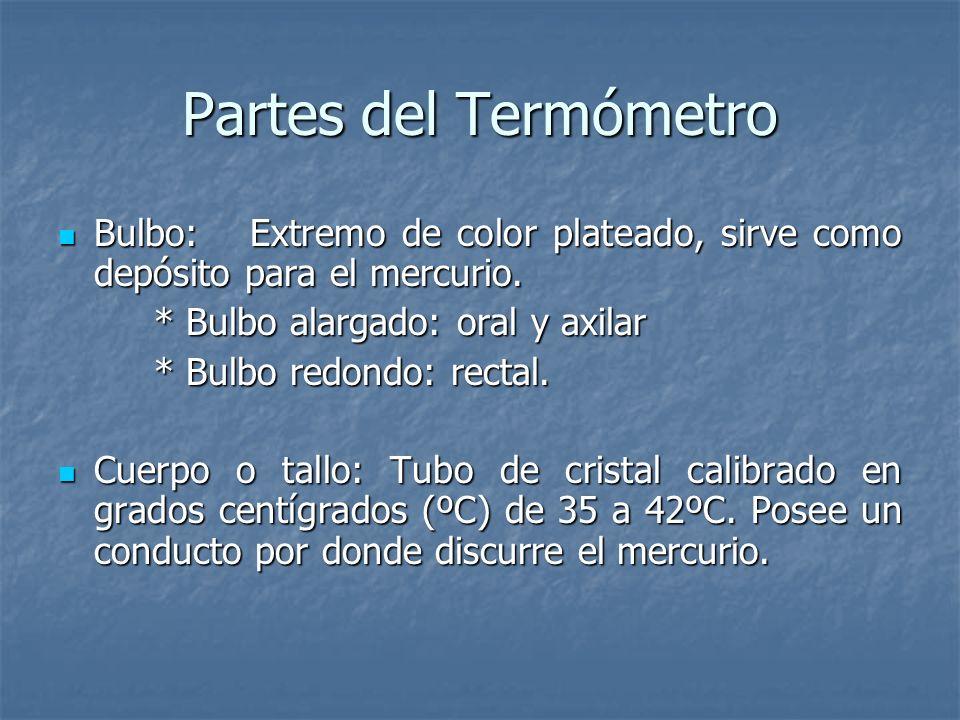 Partes del Termómetro Bulbo: Extremo de color plateado, sirve como depósito para el mercurio. * Bulbo alargado: oral y axilar.