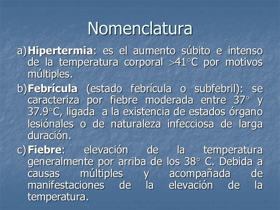Nomenclatura a) Hipertermia: es el aumento súbito e intenso de la temperatura corporal 41°C por motivos múltiples.