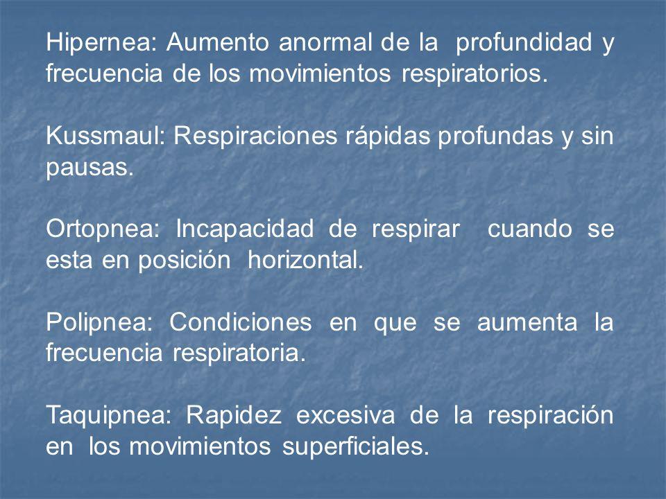 Hipernea: Aumento anormal de la profundidad y frecuencia de los movimientos respiratorios.