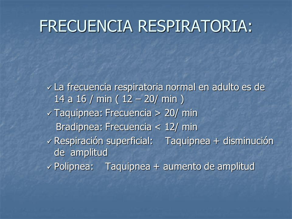 FRECUENCIA RESPIRATORIA: