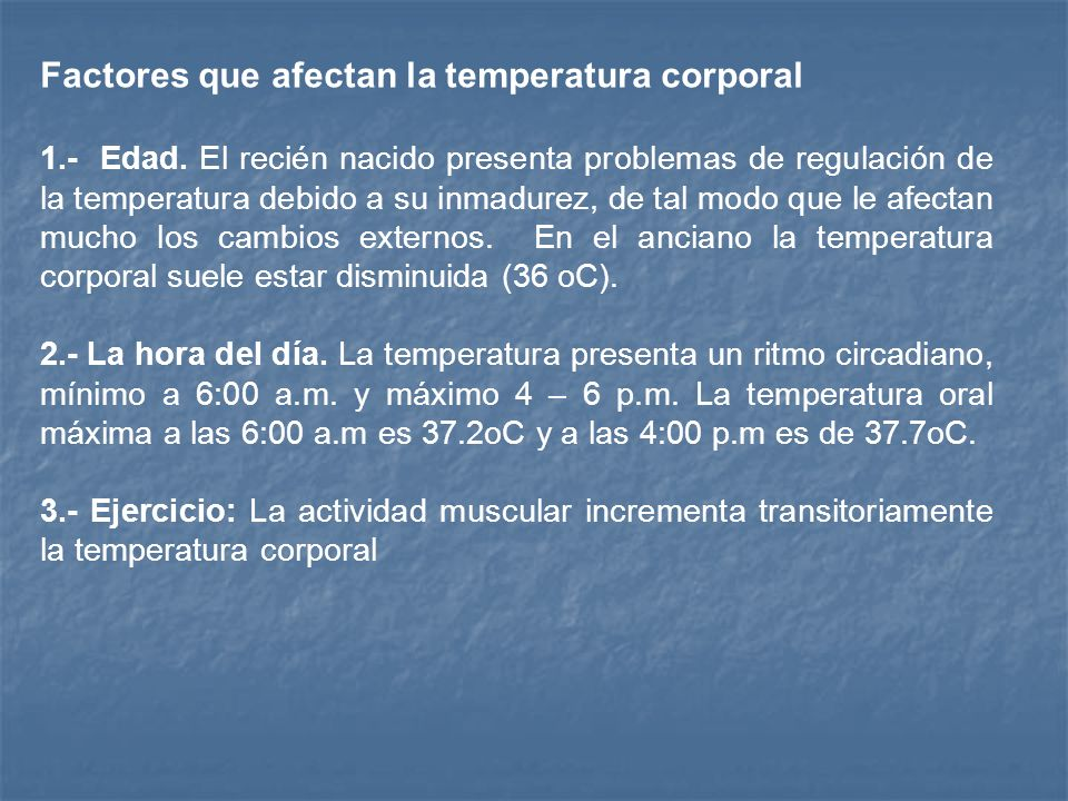 Factores que afectan la temperatura corporal