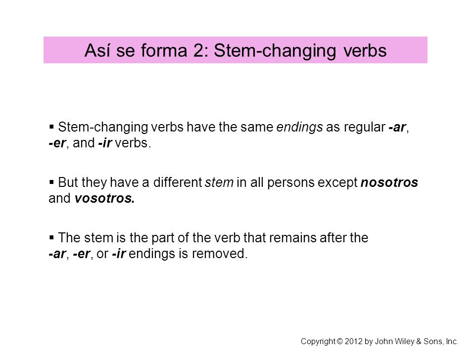 Así se forma 2: Stem-changing verbs