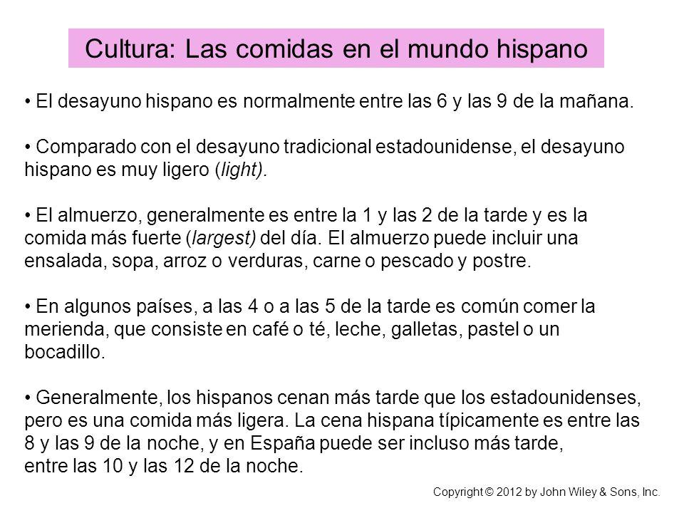 Cultura: Las comidas en el mundo hispano