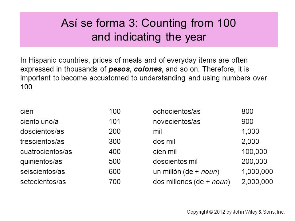 Así se forma 3: Counting from 100 and indicating the year