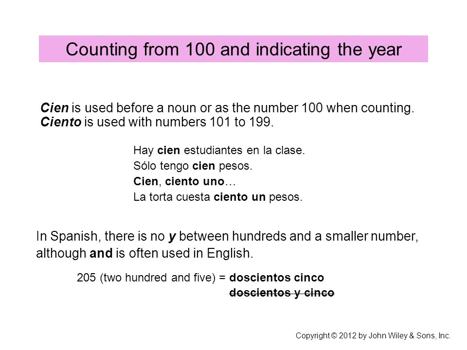 Counting from 100 and indicating the year