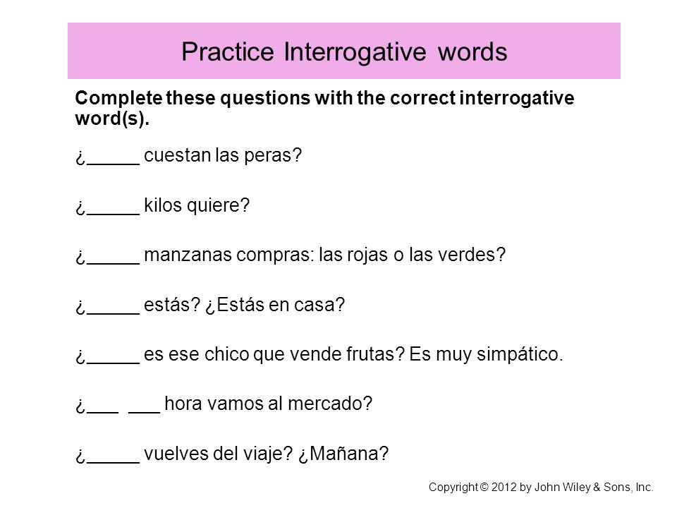 Practice Interrogative words