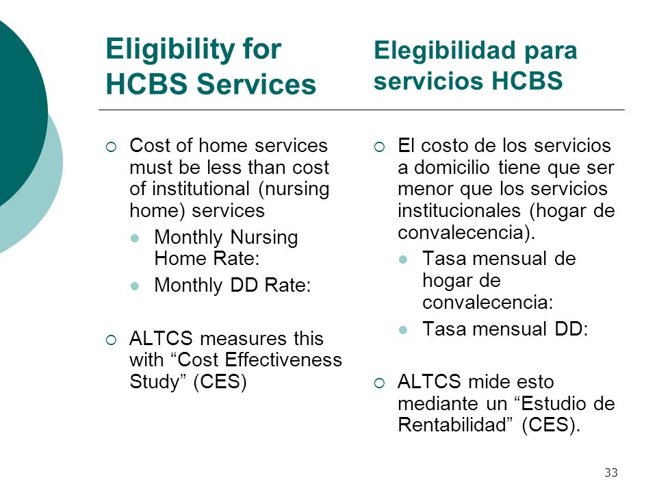 Eligibility for HCBS Services