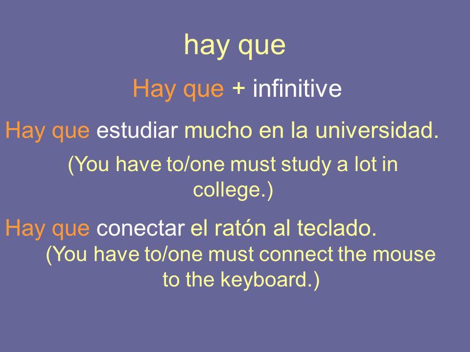 hay que Hay que + infinitive Hay que estudiar mucho en la universidad.