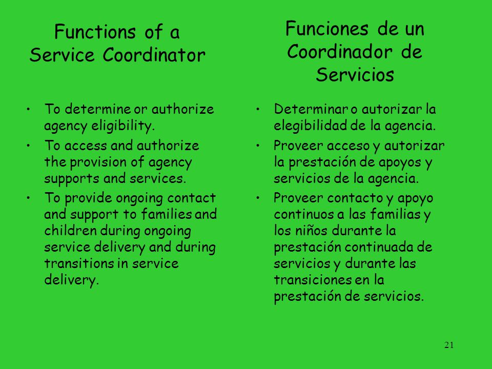 Functions of a Service Coordinator
