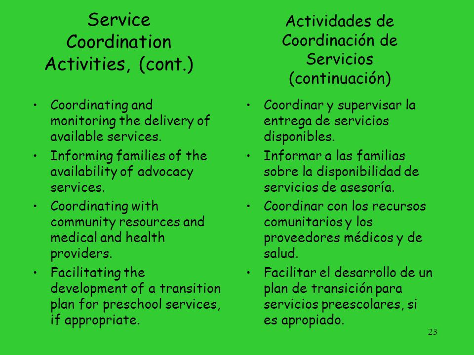 Service Coordination Activities, (cont.)